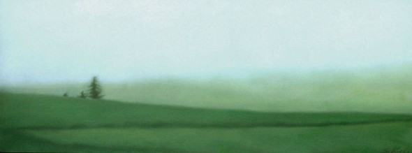 "Trees with Mist, 18""x48"", $4,200."