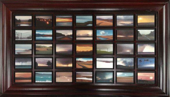 """Trove:Atmospherics, 35 panels of 3""""x5""""/ea., 30""""x48"""" overall."""