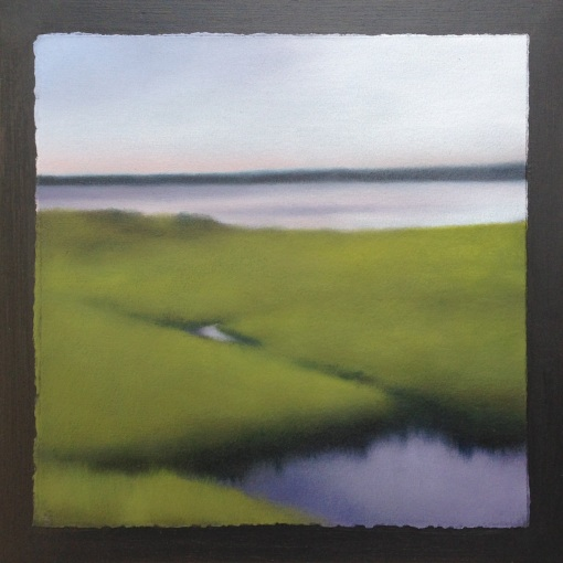 "Angular Tidal Flats, oil on paper on 12""x12"" board."