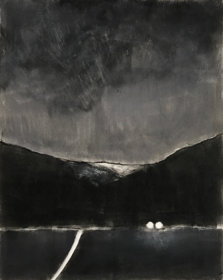 M/Dark Road, monotype and pastel.