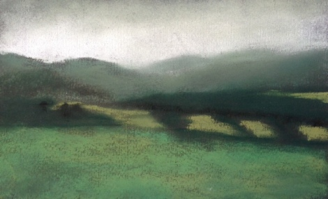 "Mists over Fields, 5""x8.5""."