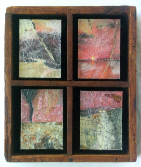 "Mixed Media/Vintage Box, 4 panels of 3.5""x2.5""."