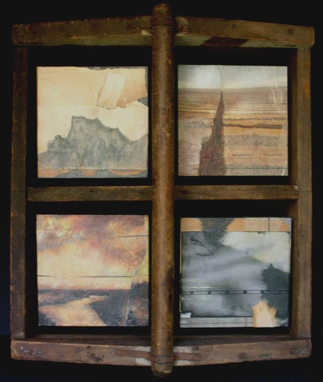 "Mixed Media/Collage/Toolbox, 4 panels of 5""x5""/ea."