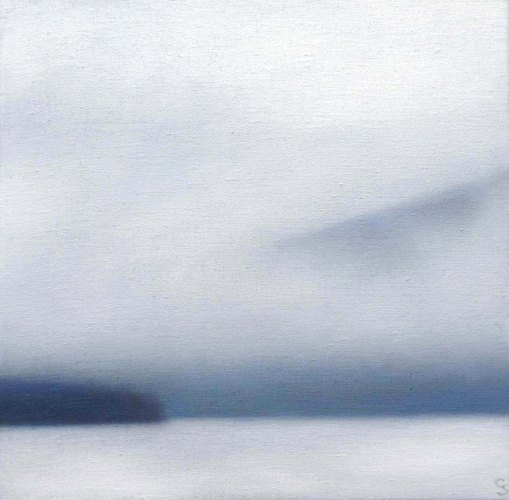 "Winter in Blue/White, 12""x12"", oil on linen (at Albert Shahinian Fine Art)."