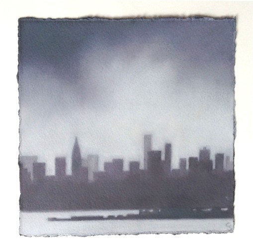 "Study/Skyline, oil on paper, 5""x5"", $550."